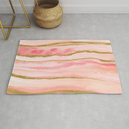 Pink watercolor marble with gold foil Rug