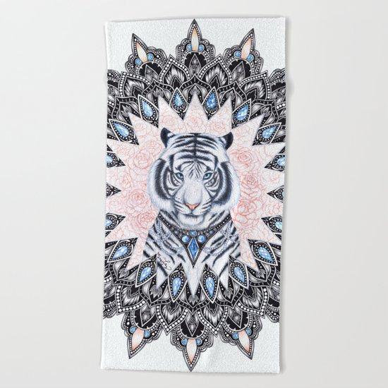 White Tiger Sapphire and Rose Mandala Beach Towel