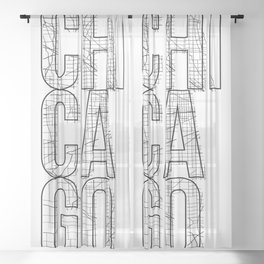 Chicago Street Map Typography Sheer Curtain