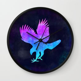 EAGLE IN SPACE // Animal Graphic Art // Watercolor Canvas Painting // Modern Minimal Cute Wall Clock