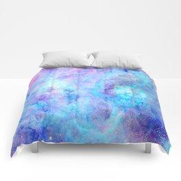 Bright Tarantula Nebula Aqua Lavender Periwinkle Comforters