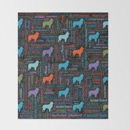 Australian Shepherd Aussie Word Art Throw Blanket