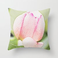 lotus flower Throw Pillows featuring Lotus by Karl-Heinz Lüpke