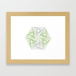 Optical illusion forming hexagon with triangles- Line composition forming different shapes Framed Art Print