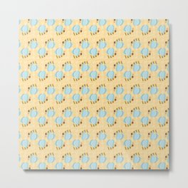 Flying Bumblebee Pattern with Plaid Background Metal Print