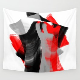 dancing abstract red white black grey digital art Wall Tapestry