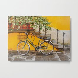 Bicycle Parked at Wall, Lucca, Italy Metal Print