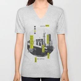 New York Brooklyn Bridge Illustration Unisex V-Neck