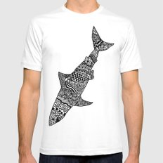 Doodle Shark MEDIUM White Mens Fitted Tee