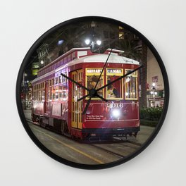 New Orleans Canal Street Car at Night Wall Clock