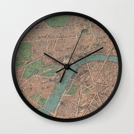 Vintage Pictorial Map of London England (1910) Wall Clock