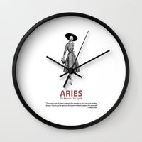 aries Wall Clocks featuring Aries by Cansu Girgin