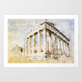 Acropolis, Athens Greece Art Print