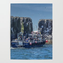 Passengers on board a boat at the farne Islands, Northumberland Poster