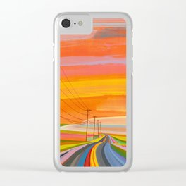 Sunset on Old Montauk Highway endless Clear iPhone Case