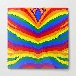 Gay Pride Rainbow Flag Zebra Safari Stripes Metal Print