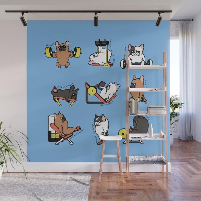 Leg Day with French Bulldog Wall Mural by huebucket Society6