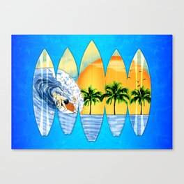 Surfer And Surfboards Canvas Print