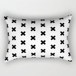 Criss Cross | black on white Rectangular Pillow