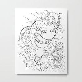 Sea Serpent - ink Metal Print