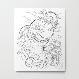 Sea Serpent - ink Metal Print