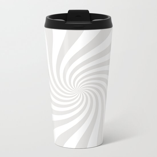 Swirl (Platinum/White) Metal Travel Mug