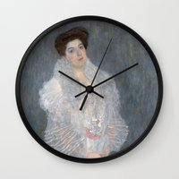 gustav klimt Wall Clocks featuring Portrait of Hermine Gallia by Gustav Klimt by Palazzo Art Gallery