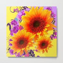 Colorful Sunflowers Purple Floral Art Metal Print