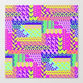Colorful pink teal yellow abstract geometrical pattern Canvas Print