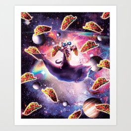 Thug Space Cat On Dolphin Unicorn - Taco Art Print