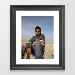 Desert boy (and pet lizard) Framed Art Print