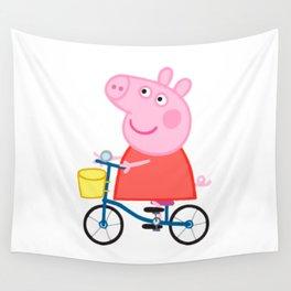 Peppa Pig Bicycle Wall Tapestry