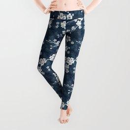 Navy and white cherry blossom pattern Leggings