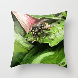 Wasp on flower16 Throw Pillow
