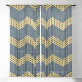 Honeycomb Chevron in Mustard Yellow and Navy Blue Sheer Curtain