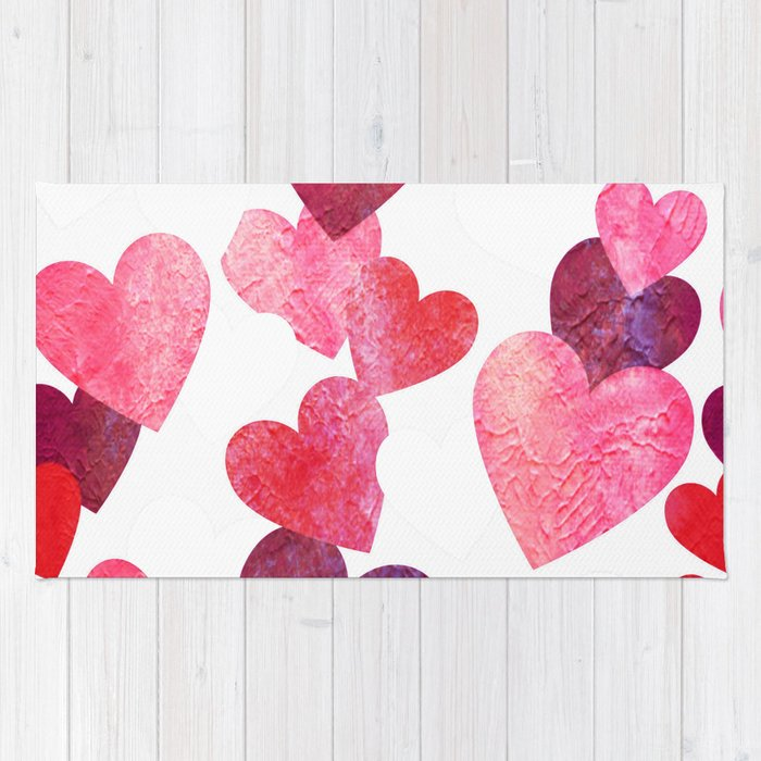 Pink Grungy Hearts Rug By Groovyfinds
