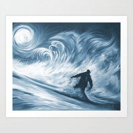 Snowboarder in 100km Blower Art Print