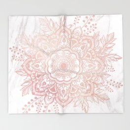 Queen Starring of Mandala-White Marble Throw Blanket