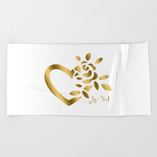 Gold Valentine Heart and Rose Beach Towel