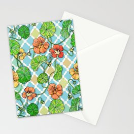 Climbing Nasturtiums on Blue and White Stationery Cards