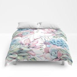 Pretty Pastel Succulents Garden 2 Comforters