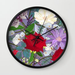 Red Rose, Orchid Red Fruits Vibrant Colorful Pattern Wall Clock