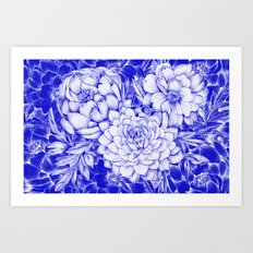Dahlias & Peonies Blue Art Print