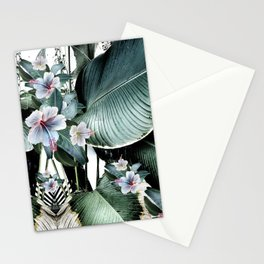 Banana leaf tropical paradise, leaves, hibiscus, Hawaii Stationery Cards