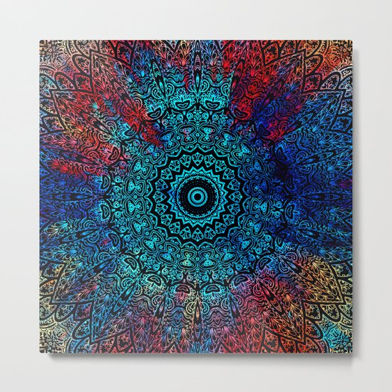 Bohemian Passion Blue & Red Mandala Design Metal Print