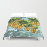 pineapples Duvet Covers featuring Pineapples by Erika Kaisersot