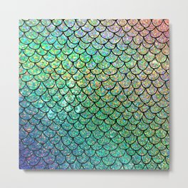 Colorful Glitter Mermaid Scales II Metal Print