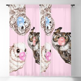 Playful Owls Bubble Gum Gang in Pink Blackout Curtain