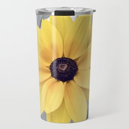 Yellow Grey Flower Photography, Yellow Gray Nature Floral Photography Travel Mug