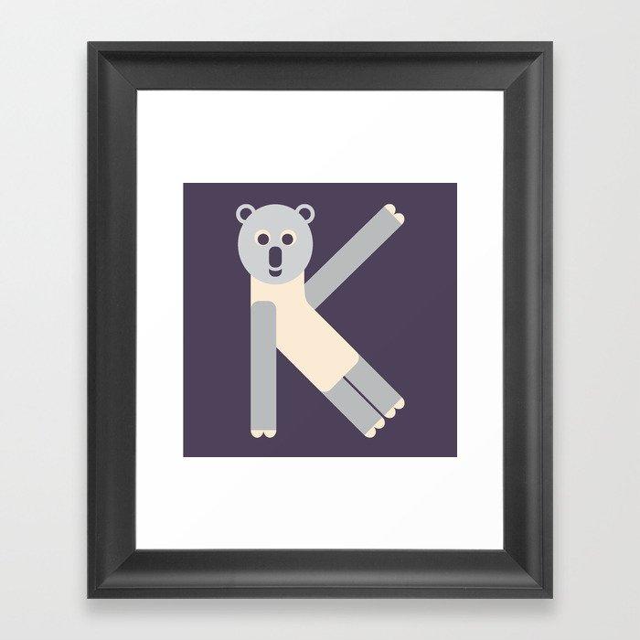 Letter K // Animal Alphabet // Koala Monogram Framed Art Print